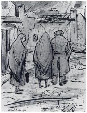 Clifford Hall (painter) - Homeless, watercolour, 1940. Imperial War Museum, London.