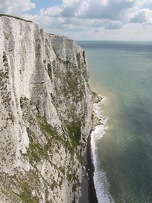 Saxon Shore Way - A view of the cliffs from the path.