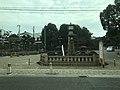 Clock tower of Sumiyoshi Grand Shrine from tramcar of Hankai Railway Hankai Line.jpg