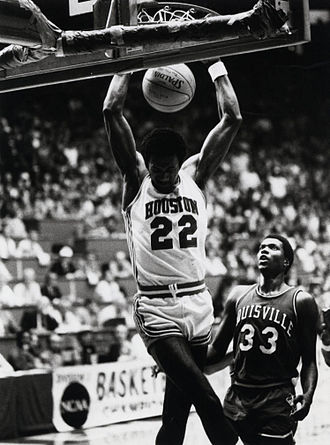 Clyde Drexler - Drexler performs a slam dunk as a member of the Houston Cougars men's basketball team