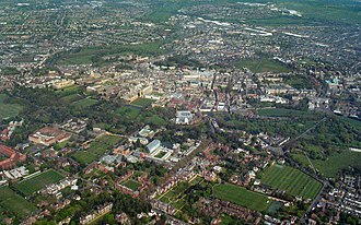 Cambridge - Aerial view of Cambridge city centre