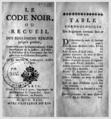 Code Noir Prault 1742, Titre et table chronologique.png