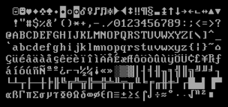 Code page 437 - Code page 437, as rendered by an IBM PC using standard VGA