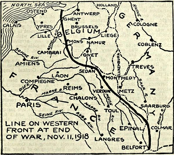 Collier's 1921 World War - line on western front at end of war.jpg