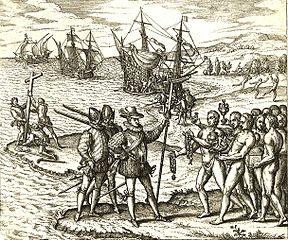 Recreación de la llegada de Colón por Theodor de Bry.