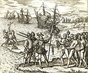 Columbus landing on Hispaniola