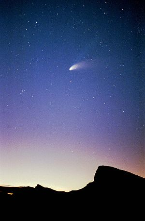 Comet Hale–Bopp - Comet Hale–Bopp over Zabriskie Point, Death Valley, USA