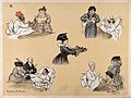 Comical scenes of grand ladies visiting hospital patients wi Wellcome V0015714.jpg
