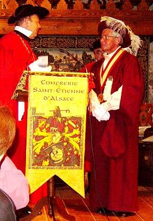 Bacchanalian fraternity - Reception of Commanderie des Grands Vins d'Amboise of Confrérie Saint-Étienne d'Alsace in Kientzheim, Alsace (2005).