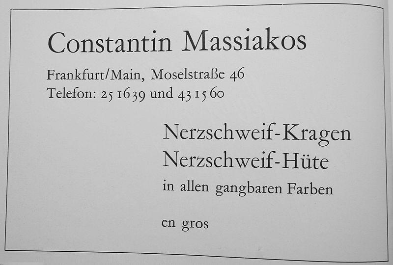File:Constantin Massiakos, Frankfurt am Main, Nerzschweif-Kragen und -Hüte, Anzeige 1965.jpg