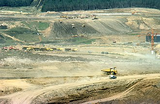 Kielder Water - Kielder Water under construction in the 1970s.