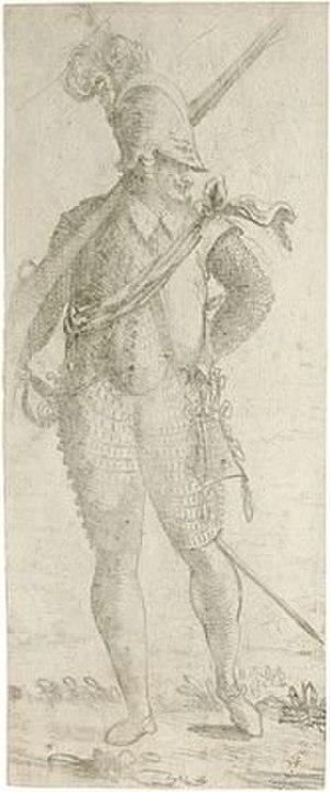 Giovanni Contarini - Standing Soldier, drawing in black chalk by Giovanni Contarini