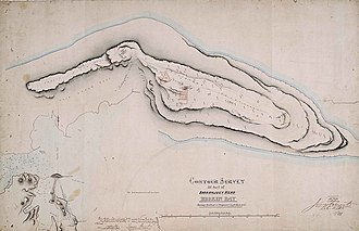Barrenjoey, New South Wales - Contour survey of part of Barrenjoey Head, Broken Bay - showing position of proposed lighthouse, 1877