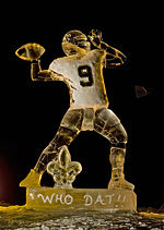 """Cool Brees"" ice sculpture of Drew Brees"