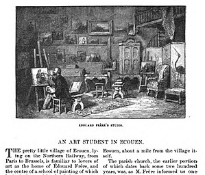 Pierre Édouard Frère - Portrait of Edouard Frère at work in his studio, by Cornelia W. Conant