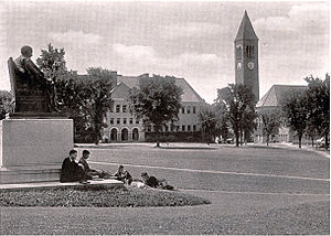 History of Cornell University - Statue of A.D. White on the Arts Quadrangle with Boardman Hall in the background