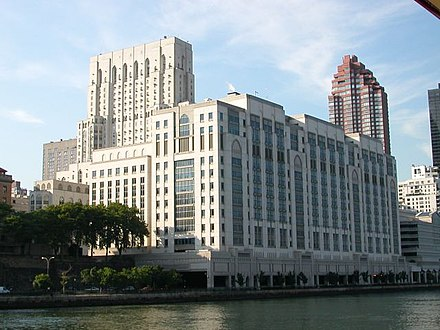 Weill Medical Center overlooks the East River in New York City. Cornell med 02.jpg