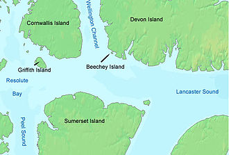Beechey Island - Beechey Island in relation to Devon Island and Cornwallis island