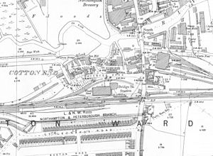 Cotton End, Northampton - Image: Cotton End OS 1899