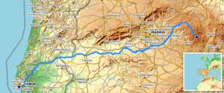 Karte vom Einzuggebiet des Tajo/Tejo