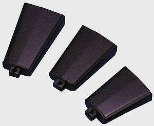 A row consisting of three cowbells.
