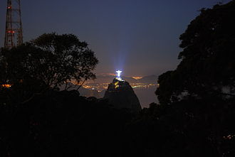 Christ the Redeemer (statue) - Christ the Redeemer at night as seen from Tijuca Forest