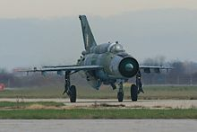 MiG-21 fighter taxiing