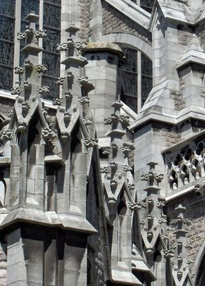 Croquets applied to the finials at Sint-Petrus-en-Pauluskerk, Ostend, Belgium