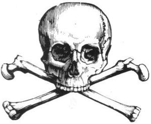 English: Line art drawing of a skull and cross...