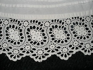 Cutwork frill on a cotton petticoat.