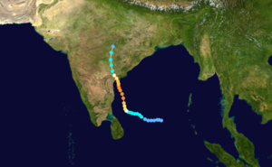 1990 North Indian Ocean cyclone season - Image: Cyclone 02B 1990 track