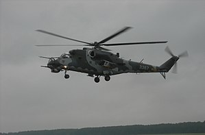 Czech Air Force Mi-24 Hind hovering over Radom-Sadkow AFB during AS 2009.JPG
