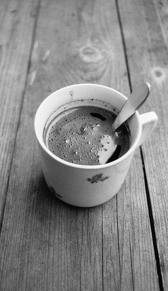 Turkish coffee - Typical Czech or Slovak Turkish coffee made of ground coffee beans poured with boiling water.