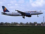 D-ABDB Small Planet Airlines Germany Airbus A320-214 landing at Schiphol (EHAM-AMS) runway 18R pic2.JPG