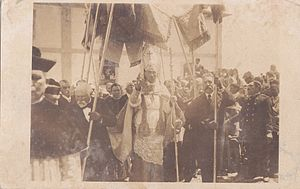 Sé (Angra do Heroísmo) - The bishop of Angra, D. Manuel Damasceno da Costa, taken in 1918 at the Sé Cathedral