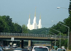 Kensington, Maryland - The Mormon Temple as seen from the Outer Loop of the Capital Beltway