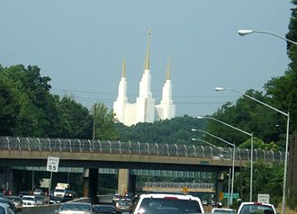 Washington D.C. Temple - Temple as seen from the Outer Loop of the Capital Beltway