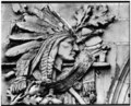 DETAIL, BAS RELIEF OF INDIAN HEAD, SECOND FLOOR LEVEL ABOVE NICHE, SOUTH (FRONT) ELEVATION - Thomas Asylum for Orphan and Destitute Indians, Administration Building, Route 438, HABS NY,15-CATRES,1A-7.tif
