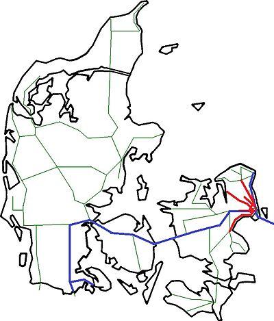 Схема железных дорог Дании.