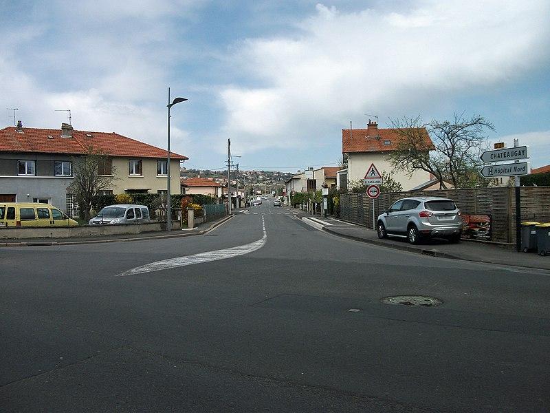 Departmental road 21 towards Châteaugay in Cébazat, Puy-de-Dôme, Auvergne, France.