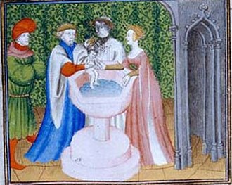 Sigebert III - Baptism of Sigebert. His mother is near him.