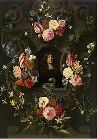 Daniël Seghers and Gonzales Coques - Portrait of a man in a garland.jpg