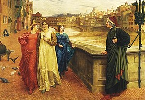 Unrequited love - Dante looks longingly at Beatrice Portinari (in yellow) as she passes by him with Lady Vanna (in red) in Dante and Beatrice, by Henry Holiday