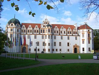 Celle Castle - The facade of the castle which looks onto Celle's Altstadt