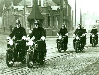 Police motorcycle - Birmingham, England, police on BSA motorcycles in the mid 20th century