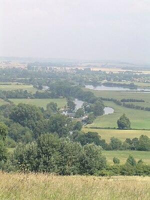 Poohsticks - Day's Lock from Wittenham Clumps (or Sinodun Hills) in summer