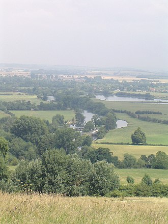 Poohsticks - Day's Lock from Wittenham Clumps (or Sinodun Hills) in summer