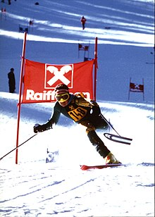 Mono-skier going down a hill