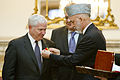 Defense.gov News Photo 110604-D-XH843-028 - President of Afghanistan Hamid Karzai presents Secretary of Defense Robert M. Gates with the Ghazi Wazir Mohammad Akbar Khan Medal Afghanistan s.jpg