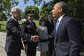 Defense Secretary Chuck Hagel and Army Gen. Martin E. Dempsey, chairman of the Joint Chiefs of Staff, greet President Barack Obama as they gather to mark Memorial Day at Arlington National Cemetery in Arlington 140526-M-EV637-093.jpg